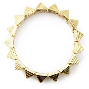 Gold Pyramid Stud Stretch Bracelet